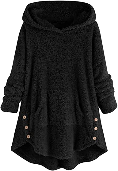 FUNEY Plus Size Cozy Slouchy Hoodie Tops Fluffy Fleece Asymmetrical Button Hem Sweatshirt Pullover Outwear for Women