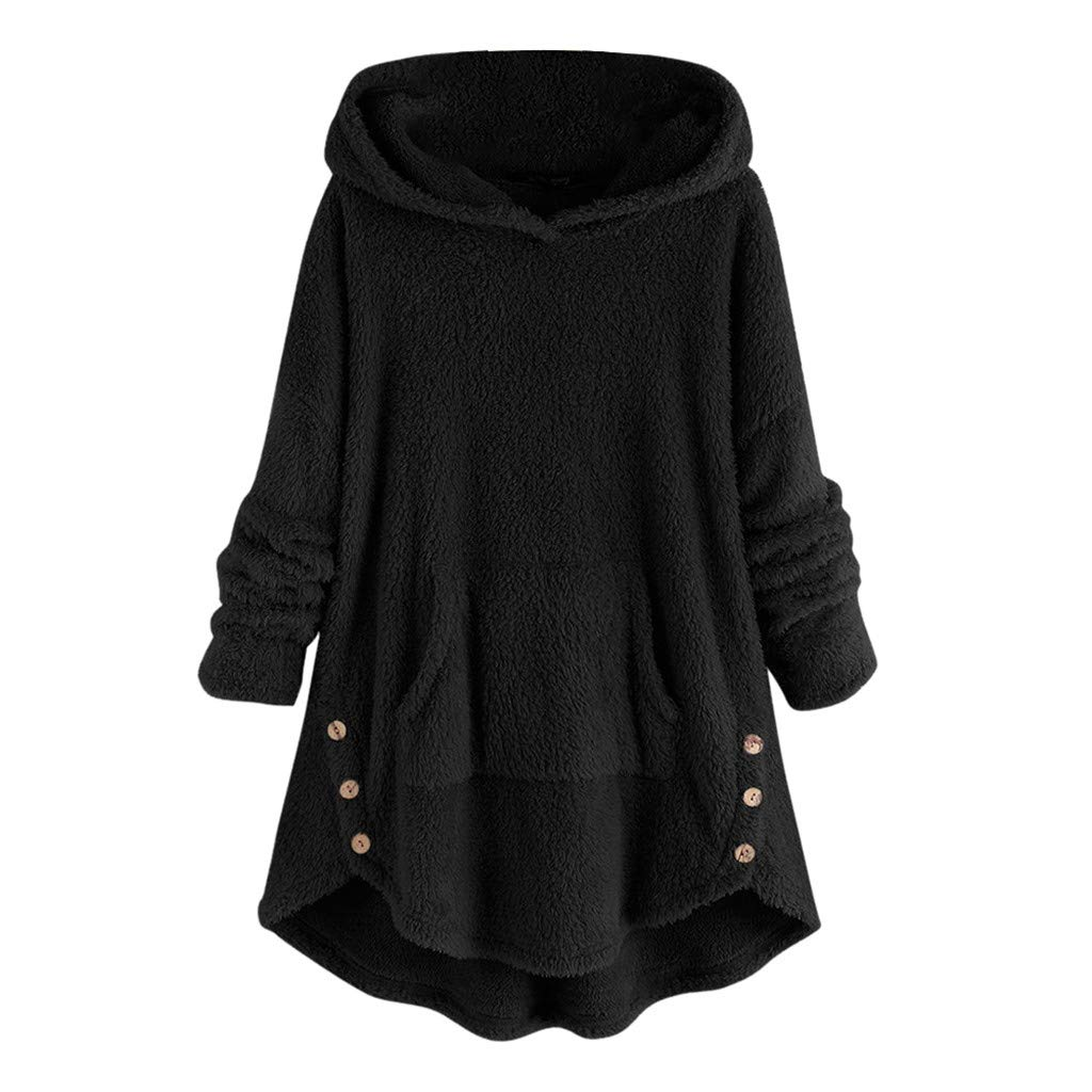 Pullover Sweaters for Women,2019 New Coat Ladies Bottoming Fluffy Tail Tops Loose Hooded Pullover Plus Size Chaofanjiancai by Chaofanjiancai_Coat