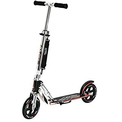 DuncaMontgo Adult Folding Kick Scooter- 2 Big PU Wheels 205 mm, (Black/Red) : Sports & Outdoors