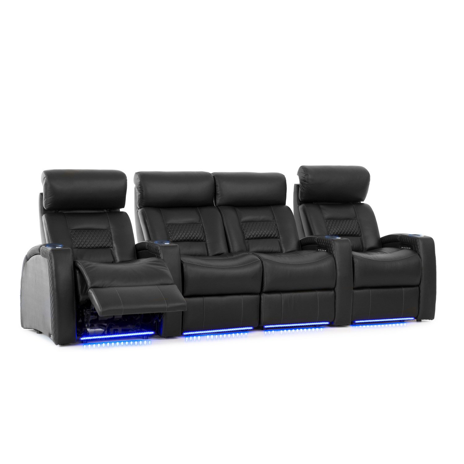 Octane Seating Flex HR Home Theater Seats - Black Top Grain Leather - Power Recline - Row of 4 with Center Loveseat by Octane Seating