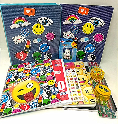 Emoji Stationary 5 piece Bundle Set Stickey Sticker Pad, Back to School Pocket & List notepad 1000 Stickers Expressions WILL - Barbecue List Of Sauces