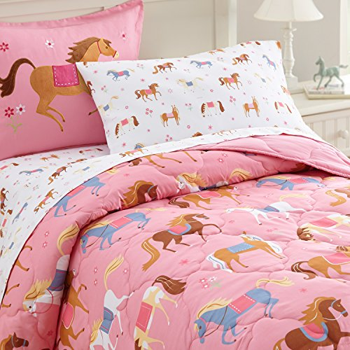 Bed-in-A-Bag, 100% Microfiber Bedding Set, Includes Comforter, Flat Sheet, Fitted Sheet, Pillowcase, and Embroidered Sham, Olive Kids Design – Horses ()