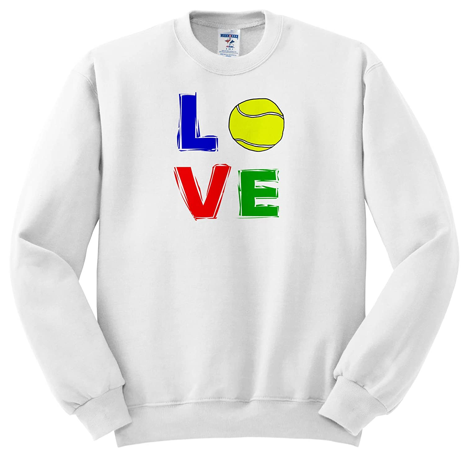 3dRose Smiles Art Sports and Hobbies - Funny Cool Tennis Art Where Love Is Spelled With Tennis Ball - Sweatshirts ss_263791