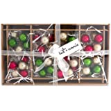 Rustic Christmas Metallic Clusters 1 Inch Boxed Set of 8 Glass Ball Ornaments