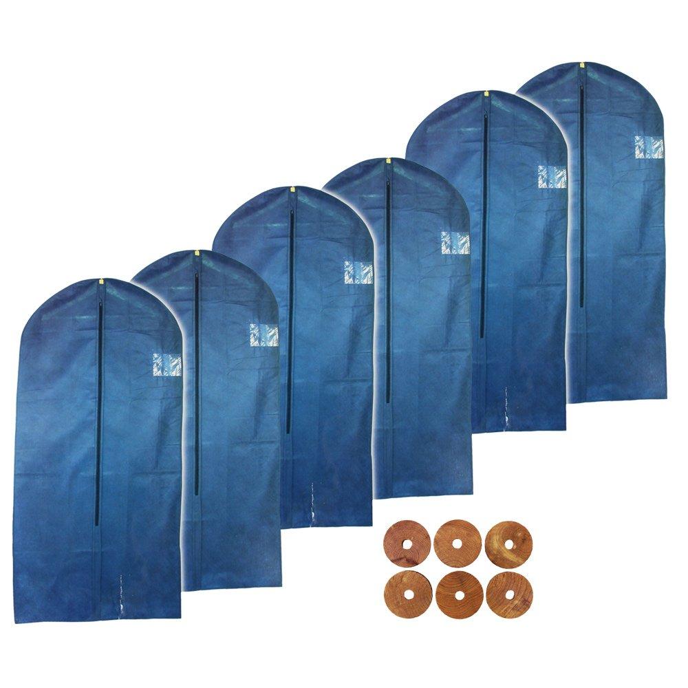 Circa 100 x 60 cm COM-FOUR/® Custodia Protettiva per Vestiti 6X Porta Abiti con Finestra e Cerniera 06 Pezzi - 100x60cm Neri