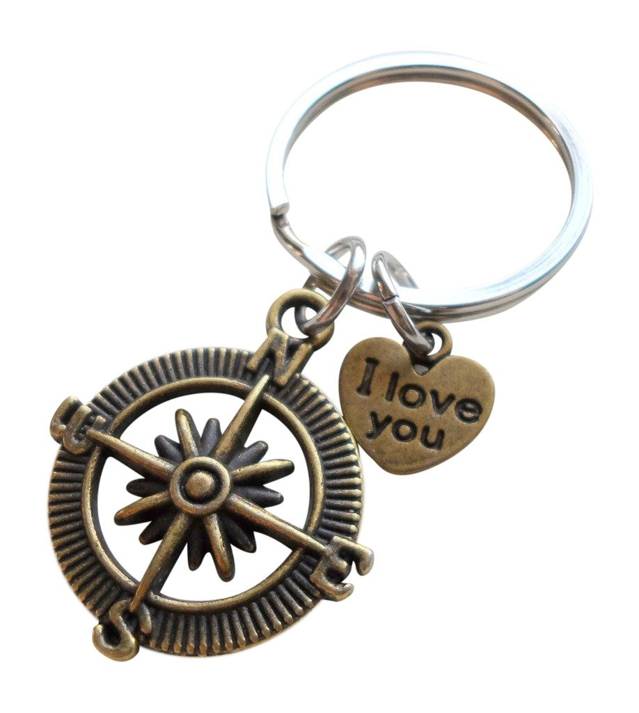 Bronze Open Metal Compass Keychain 'I Love You' Heart- I'd Be Lost Without You JewelryEveryday 32914000440