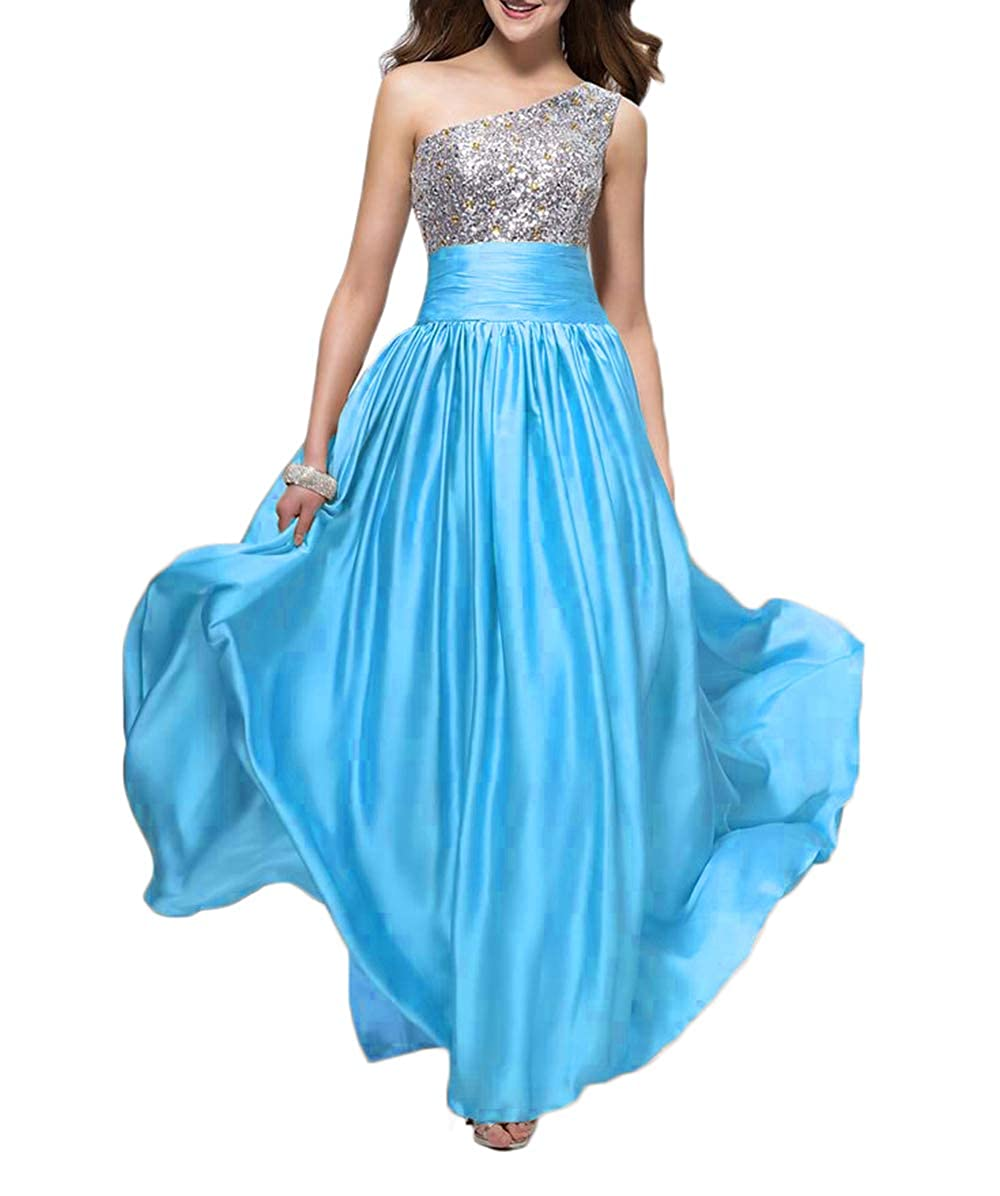 bluee alilith.Z Bling Bling Crystals Sequins Prom Dresses 2019 Long Sexy One Shoulder Satin Evening Dresses Party Gowns for Women