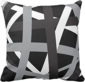 Emvency Throw Pillow Cover Gray Black Stripes Design Retro Decorative Pillow Case Striped Home Decor Square 20 x 20 Inch Cushion Pillowcase