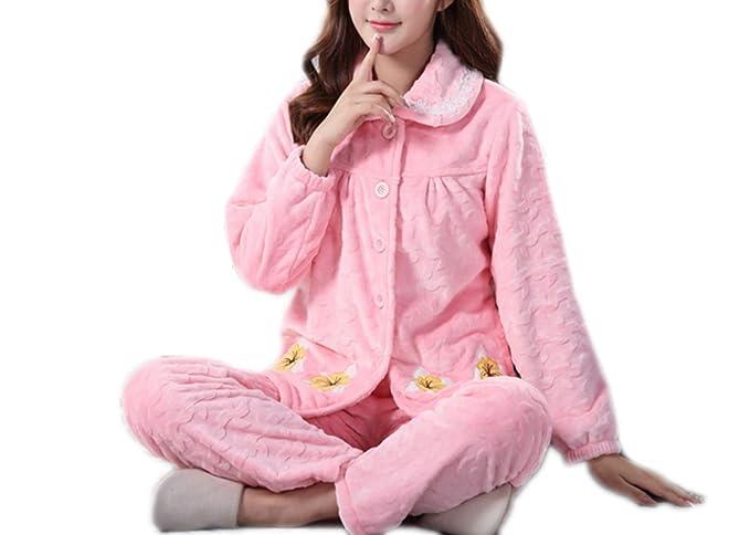 Impresión De La Mujer Otoño E Invierno Pijamas Gruesos Cálidos Traje Niñas Niñas Manga Larga Lindo