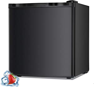 AGLUCKY 1.1 Cu.ft Compact Upright Freezer, Mini Refrigerator with Reversible Single Door and Removable Glass Shelves, Beverage and Food Storage Cooler for Office, Dormitory, Home or Apartment(Black)