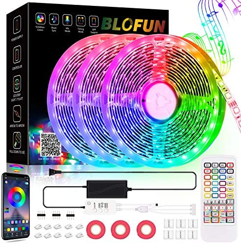 Led Lights for Bedroom,49.2 Feet of Music Sync Changing Color Led Strip Lights,40 Keys Remote and Application Control Rope Lights,Adjust 16 Million Colors Led Light Strips for Party Home Decoration