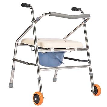 LXN silla multifuncional plegable de lujo persona mayor/mujer embarazada/persona con discapacidad asiento inodoro silla de baño andador altura ajustable ...