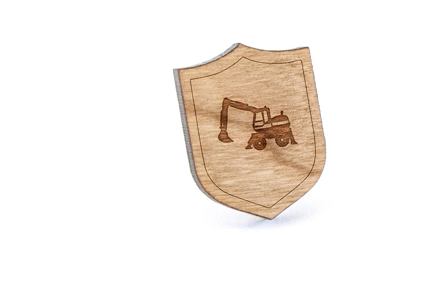 Excavator Lapel Pin, Wooden Pin And Tie Tack   Rustic And Minimalistic Groomsmen Gifts And Wedding Accessories