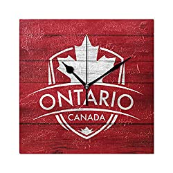 Franzibla Ontario Province Canada Maple Leaf Flag 7.87 Inch Battery Operated Decorative Wall Clock, Quartz Clock For Bedrooms, Living Room, Bathroom