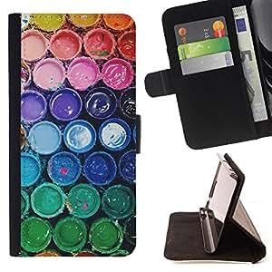 """For HTC One Mini 2 M8 MINI,S-type Colores del arco iris en colores pastel del cucharón"""" - Dibujo PU billetera de cuero Funda Case Caso de la piel de la bolsa protectora"""