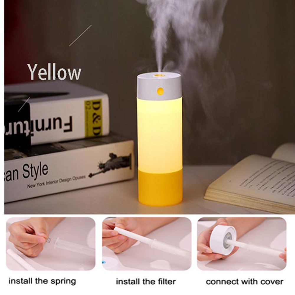 INorton 250ML Air Humidifier, USB Ultrasonic Air Humidifier with LED Warm Light,Air Freshener Essential Oil Diffuser Aroma for Home, Car, Office