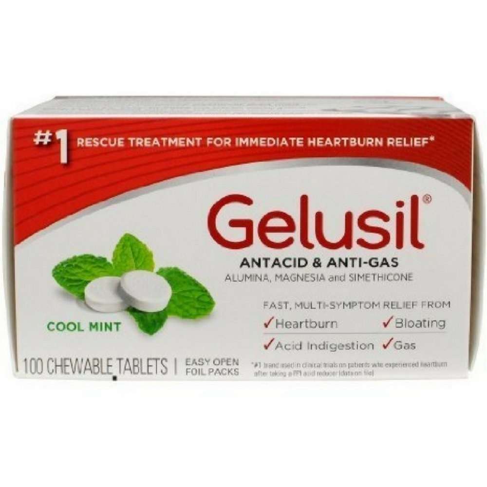 Gelusil Antacid/Anti-Gas Tablets Cool Mint, 100 Tablets (Pack of 9) by Gelusil