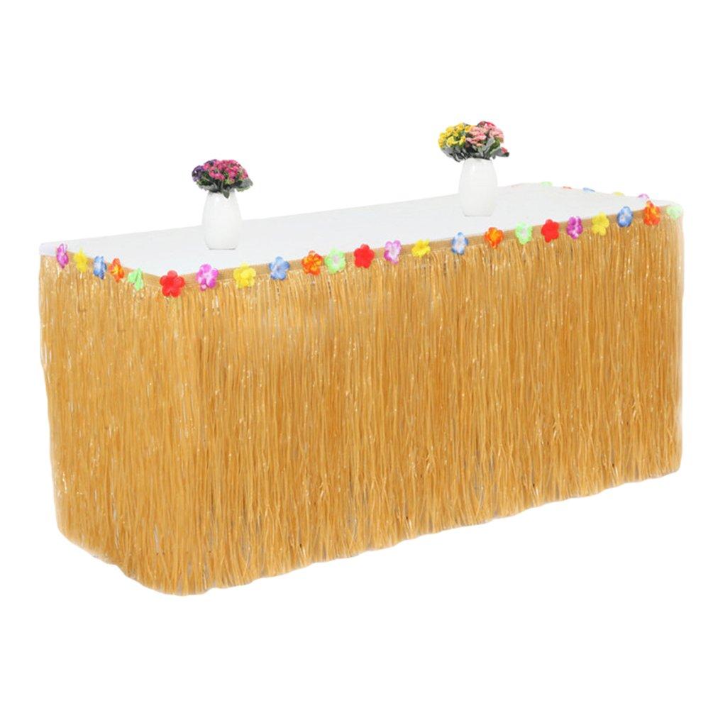 Ketamyy Party Prom Halloween Grass Table Skirt Plastic Table Skirt Baby Shower Birthday Cake Table Skirt Green 275CM*75CM