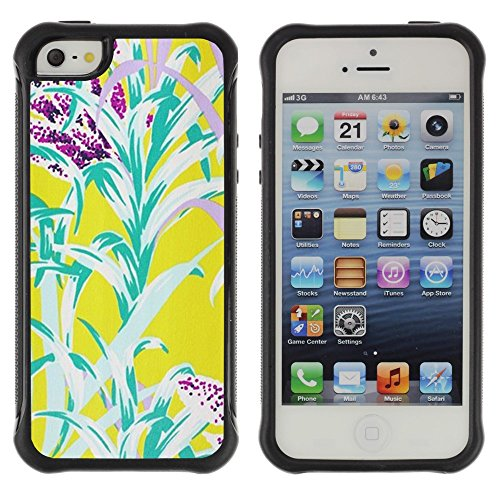 All-Round Hybrid Rubber Case Hard Cover Protective Accessory Compatible with Apple iPhone 5 & 5S - Flowers Yellow Teal Nature Summer