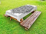 Ambesonne Mandala Outdoor Tablecloth, Flower and Leaf Old Arabic Ottoman Ancient Mandala Chart Life Web Meditation Print, Decorative Washable Picnic Table Cloth, 58 X 84 inches, Black White
