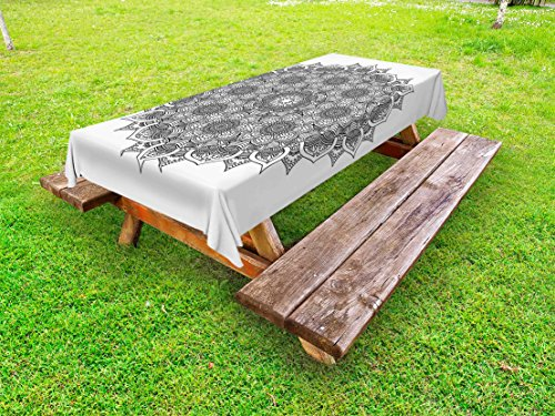 Ambesonne Mandala Outdoor Tablecloth, Flower and Leaf Old Arabic Ottoman Ancient Mandala Chart Life Web Meditation Print, Decorative Washable Picnic Table Cloth, 58 X 84 inches, Black White by Ambesonne