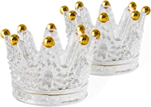 Fsyueyun Votive Candle Holders,Set of 2 Glass Crown Design Tea Light Candle Holders as Wedding, Party and Event Planning Home Decor Centerpiece (Gold)