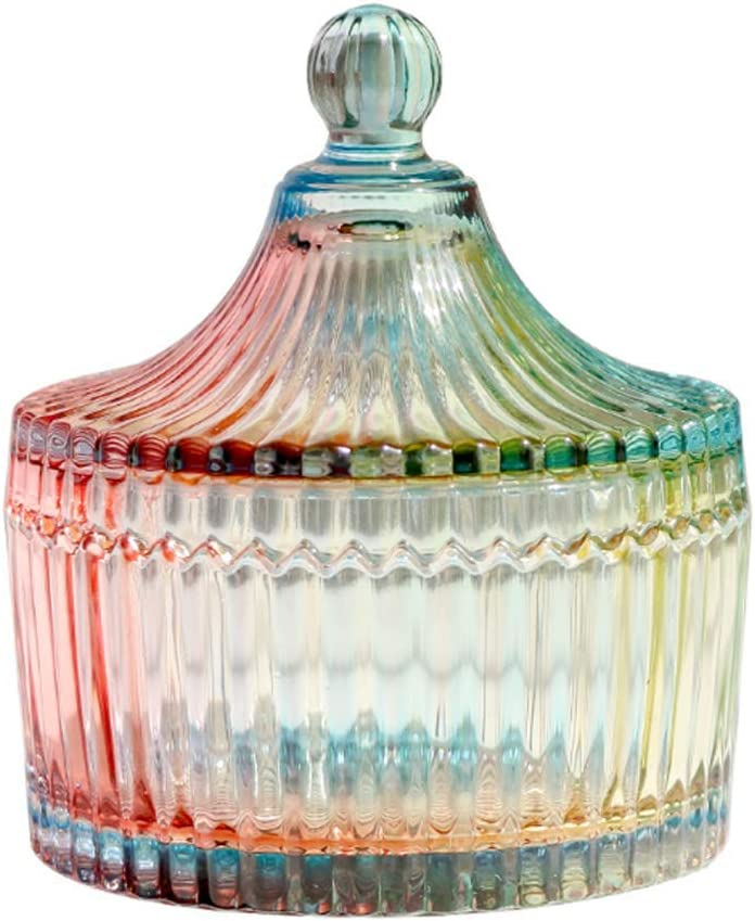 300ml/10oz Colorful Glass Candy Dish with Lid Tent Shaped Crystal Candy Jar Apothecary Jar Wedding Candy Buffet Jar Food Jar Biscuit Containers Decorative Jewelry Box