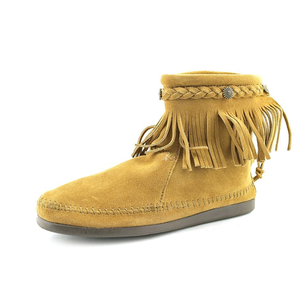 Minnetonka Boots Womens Hi Top Back Zip Square Toe 8.5 Taupe 297T