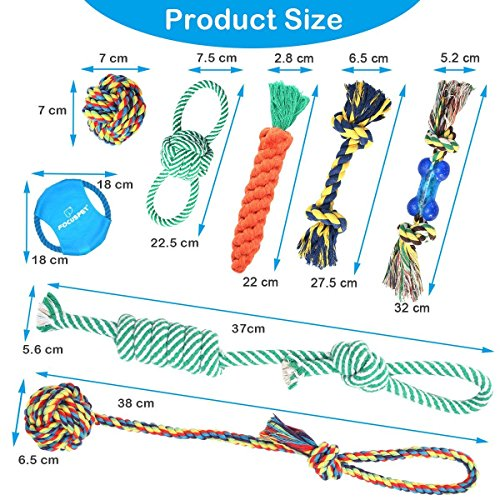 Dog Toys Set, FOCUSPET Small Dog Pet Cat Cotton Rope Chew Play Toys Set Pack Kit for Pull Play Training Teeth Cleaning Durable Chew Interactive Knot Dogs Toys for Puppy Small & Big Dogs,8 Pack by FOCUSPET (Image #3)