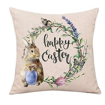 1 unids Pascua Conejo Huevos Throw Pillow Covers Nueva Primavera Flores Árbol Decoración para El Hogar