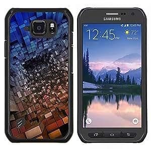 Caucho caso de Shell duro de la cubierta de accesorios de protección BY RAYDREAMMM - Samsung Galaxy S6Active Active G890A - Patrón Cube