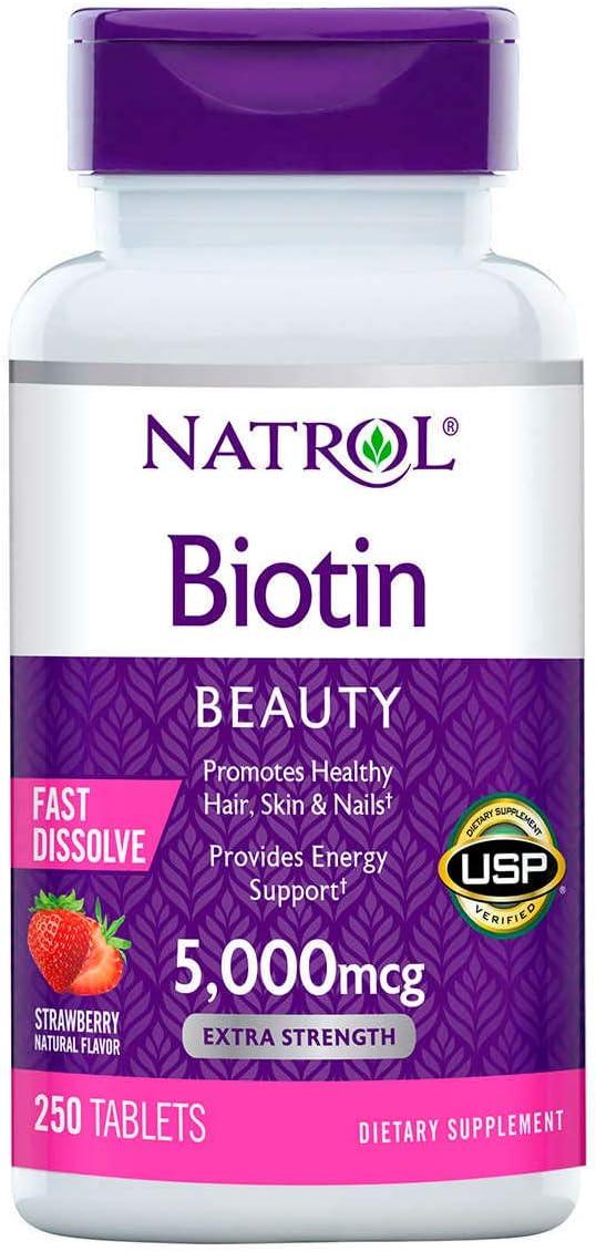 Biotina 5,000 mcg Fast Dissolve Morango (250 Tabs) Natrol