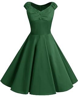 bbonlinedress Womens Vintage 1950s Polka Dot Cap-Sleeve Cocktail Party Rockabilly Swing Dresses
