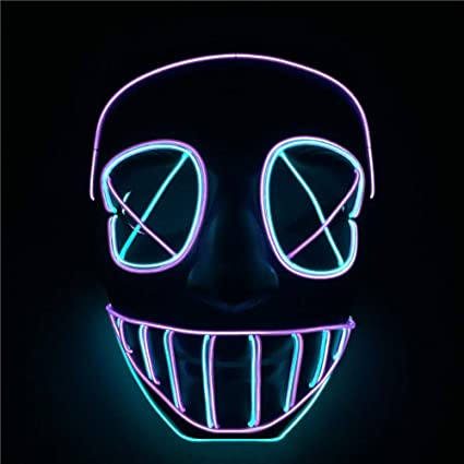 wuudi Halloween LED Mask EL Glowing Line Cold Light Mask Horror Scary Mask Carnival Party Mask