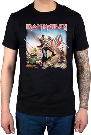 Camiseta Oficial Iron Maiden Trooper (Negro): Amazon.es: Ropa y accesorios