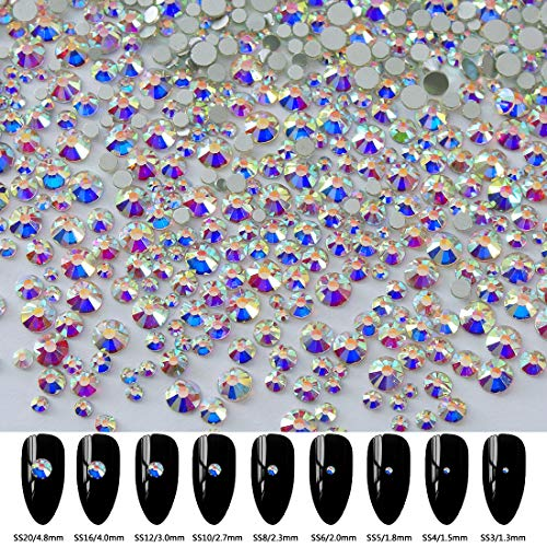 2592pcs 9 Sizes 3D Nail Art Flatback Crystals Rhinestones Round Beads Gem Pearls for Nail DIY Crafts Clothes Shoes Phone Case Decoration; Mixed Sizes 1.3-4.8mm; SS3-SS20; 288pcs Per Size
