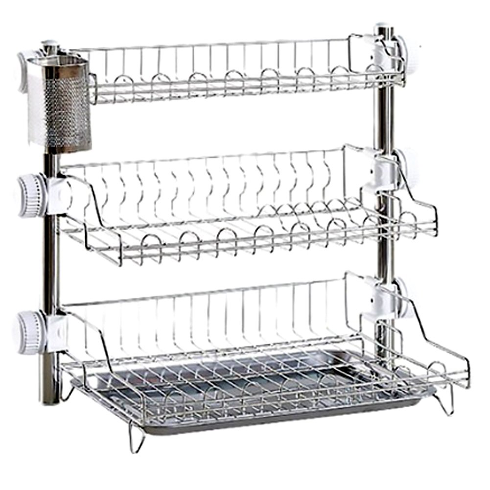 Tof Stainless Steel 3 Tier Kitchen Rack with Spoon holder & Plate Rack by Tof