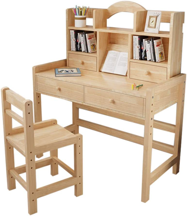 Kids Desk and Chair Set, Adjustable Height Kids Wooden Study Desk with Drawers and Bookshelves, Lovely Furniture for Reading, Writing &Drawing,Study Table for Girls Boys (Yellow)