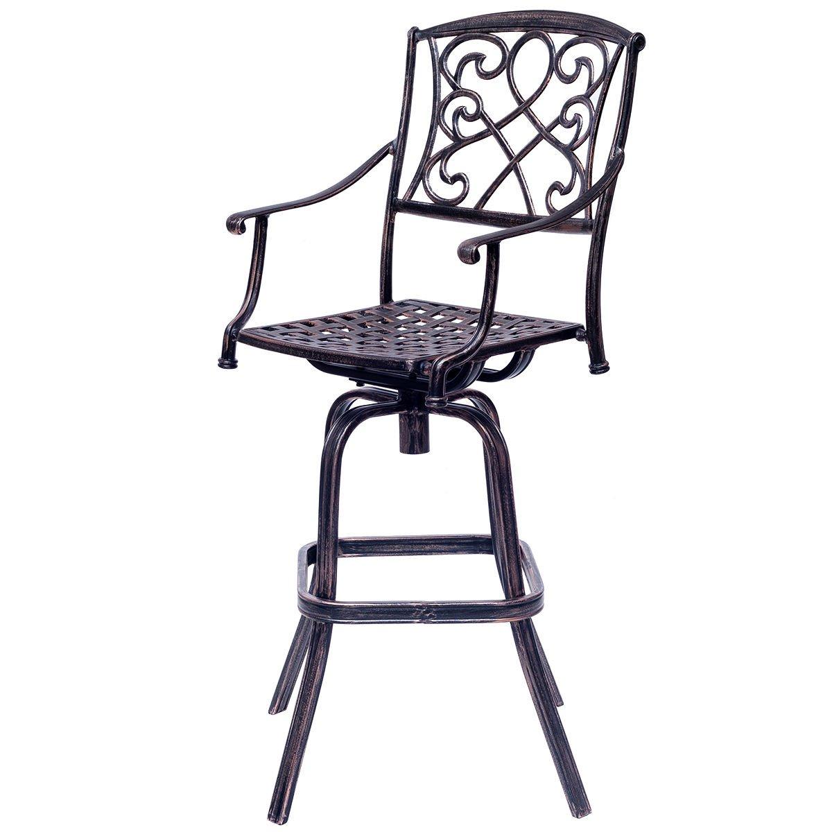 Amazon com costway bar table and stool set cast aluminum vintage retro design patio outdoor garden bistro furniture set copper bar stool garden