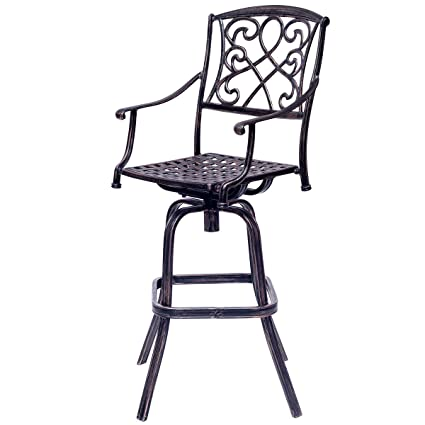Retro aluminum patio furniture Wrought Iron Image Unavailable Amazoncom Amazoncom Costway Bar Table And Stool Set Cast Aluminum Vintage