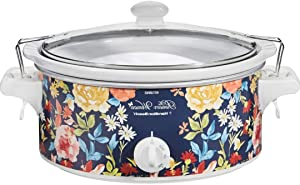 Slow Cooker 6 Quart Slow Cookers, Multi-Cooker, 3-In-1 Cook Central, Portable, Oval Pot with Latch Lock Lid, Vintage Floral Aesthetic Beautiful design, Blue, High Quality, Easy to clean and can add some style to a kitchen counter