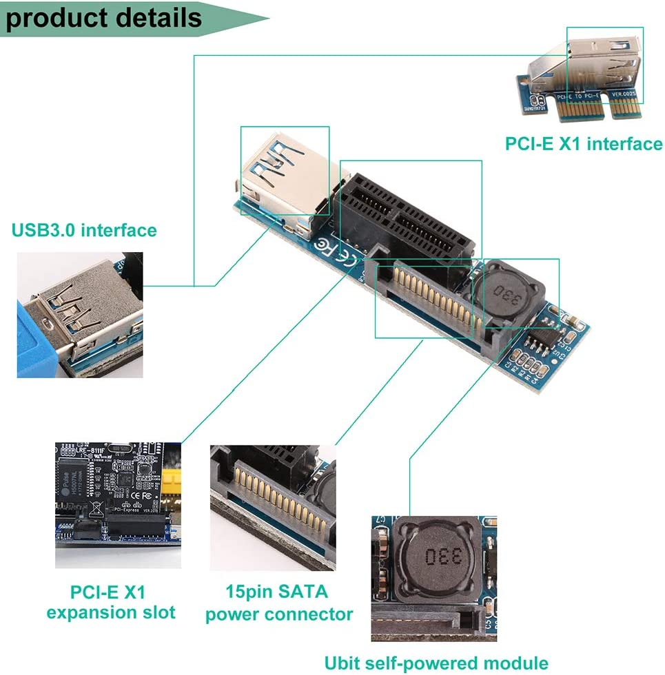 Ubit PCIE X1 Scheda di Estensione PCI-E X1 /& 15-Pin SATA interfaccia Piastra Adattatore con USB 3.0 60 Centimetri Cavo di Estensione