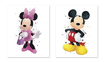 Amazon Com Mickey Mouse Inspired Watercolor Coloring Poster Minnie