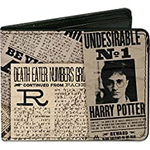 Buckle-Down Men's Wallet Harry Potter Headlines Undesirable No 1 White/black Accessory, -Multi, One Size
