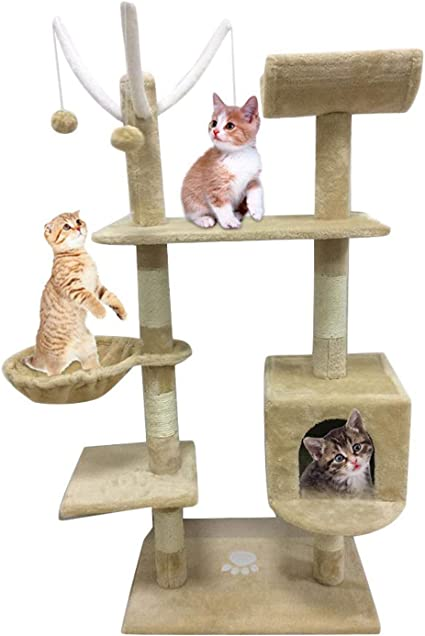 Large Cat Trees and Towers with Padded Plush Perch Cat Activity Center Pet Cat House Indoor for Kitten Scratcher Adult Cats Cat Condo Furniture Grey Cat Scratching Post 130cm Cat Climbing Tower