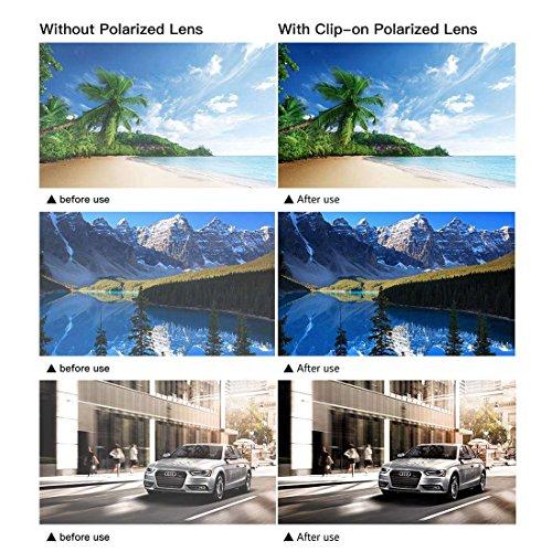 JESSIEDANTON Polarized Clip-on Flip Up Metal Clip Rimless Sunglasses, Lightweight, XL Size, Black Lens by CAXMAN (Image #6)