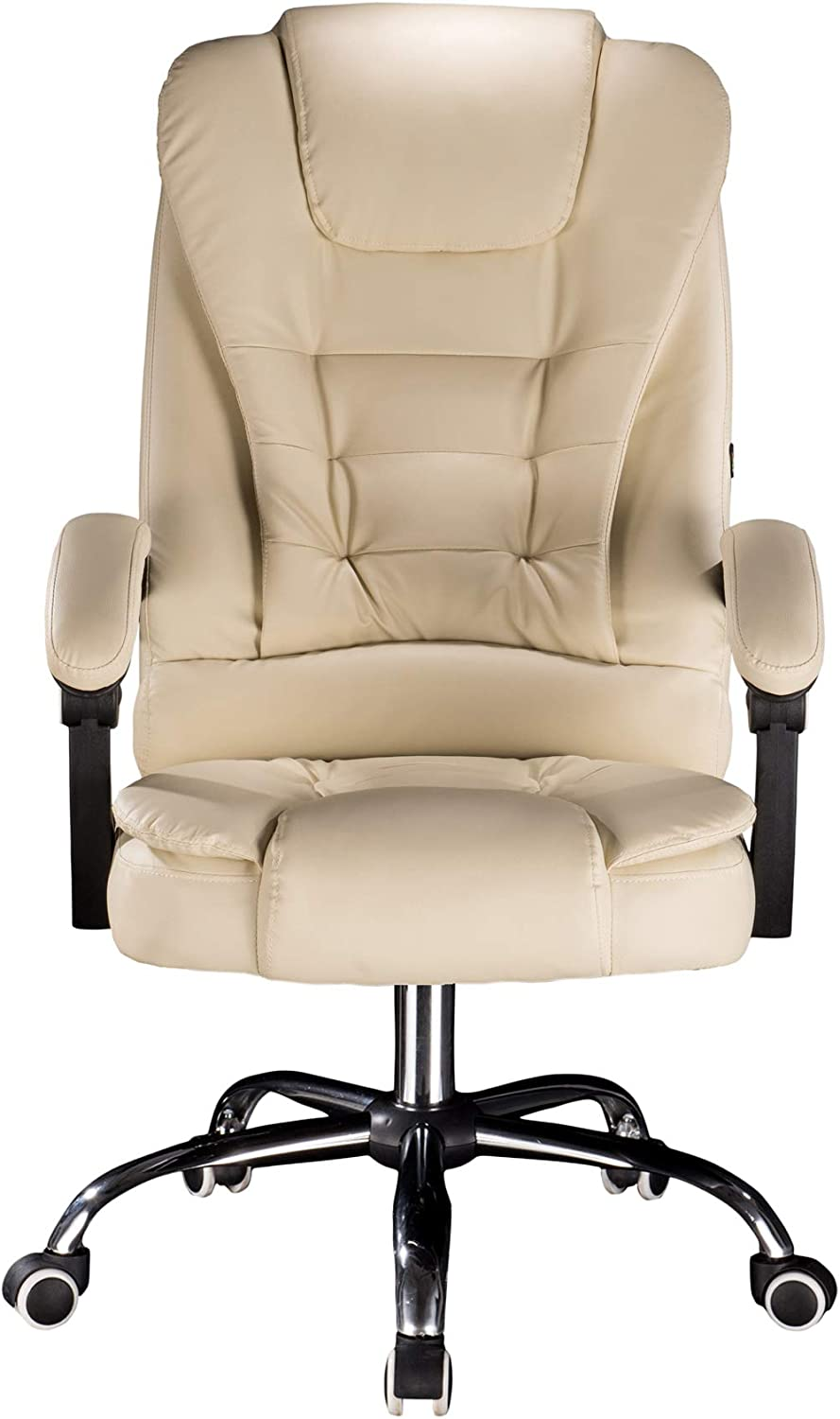 Cosyshow Comfort Genuine Leather High Back Executive Office Desk Chair Ergonomic Adjustable Recliner Computer PC Gaming Chair Footrest Armrest (Beige)