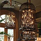 DMMSS Bird Cage Vintage Iron Lamp Crystal Chandelier/Lamp Living Room Restaurant And Bar Lights Chandelier