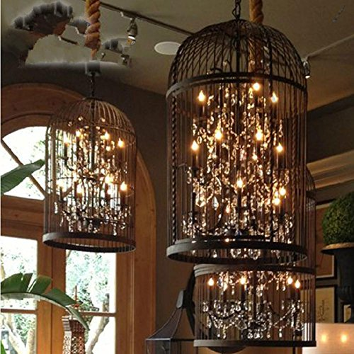 DMMSS Bird Cage Vintage Iron Lamp Crystal Chandelier/Lamp Living Room Restaurant And Bar Lights Chandelier by DMMSS Lamp