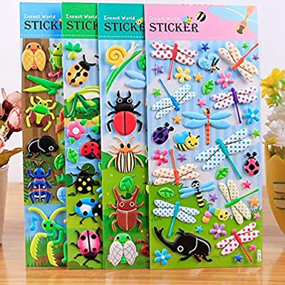 TOYANDONA 3 Sheets Bubble Sticker Toy Insects Foam Stickers Educational Insect DIY Craft Decals for Notebook Scrapbooking: Toys & Games